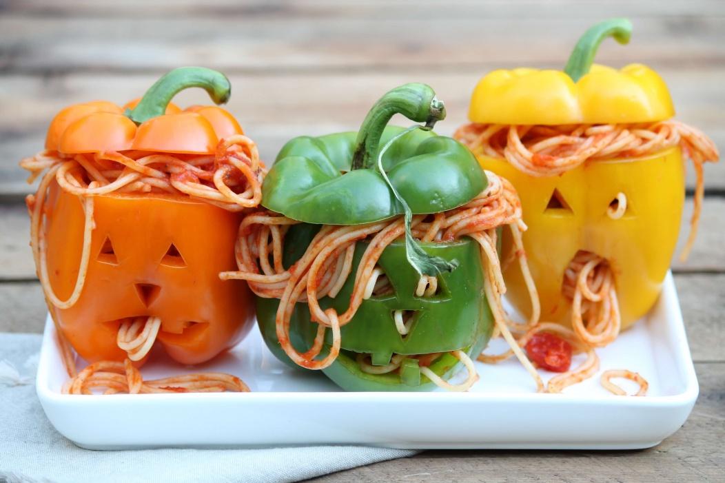 Yummy, Easy and Creative Halloween Food Ideas-spooky-spaghetti-stuffed-peppers-halloween-food-ideas.jpg