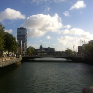 Dublin (DUB) -The River Liffey (and part of the Bachelor's Walk to the left)